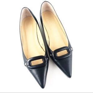 J.Crew Black Leather Pointed Toe Flats Size 5.5